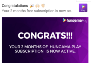 Free Hungama Play Subscription