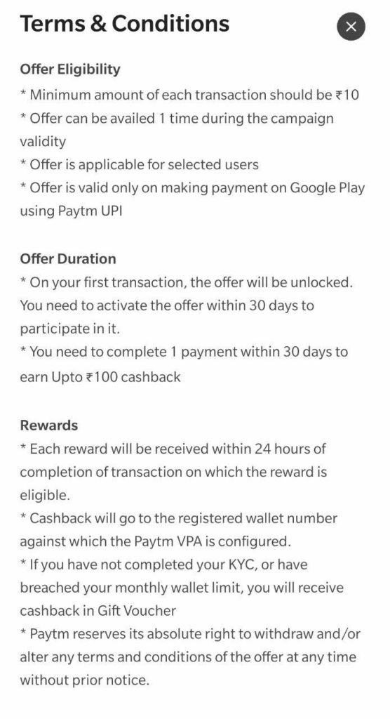 PayTM Google Play UPI Offer