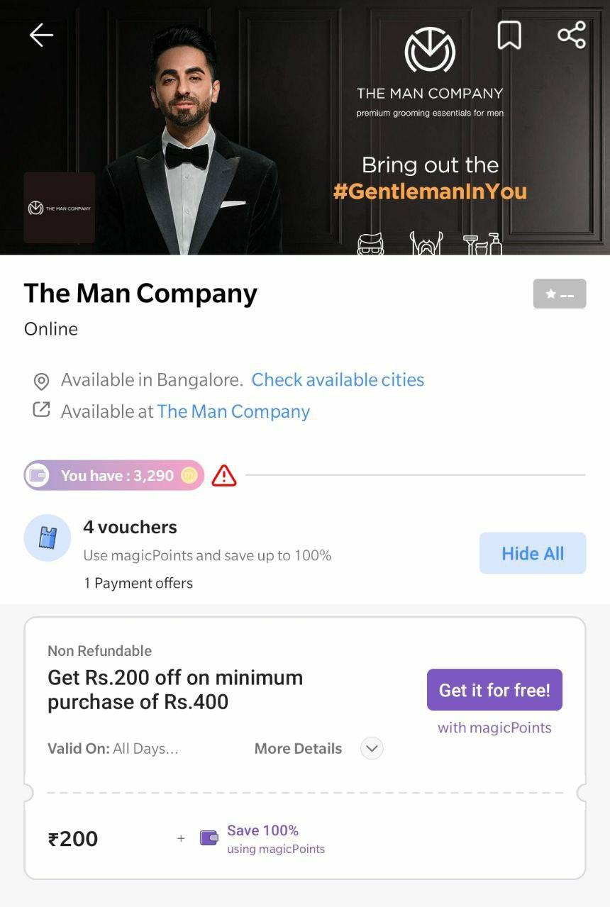 The Man Company - ₹200 Off On Everything | 50% Free Coupon