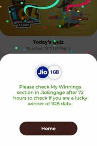 MyJio Tata IQL Quiz - Win Free Jio Data