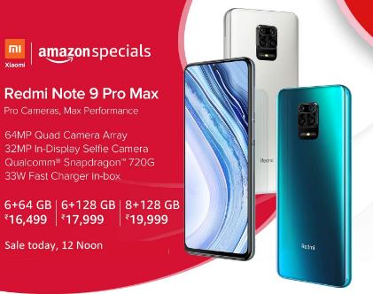 Amazon Redmi Note 9 Pro Max Next Sale Data & Time