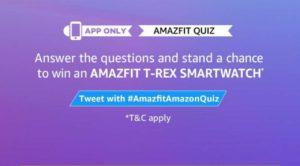 Amazon Amazfit T-Rex Quiz Answers