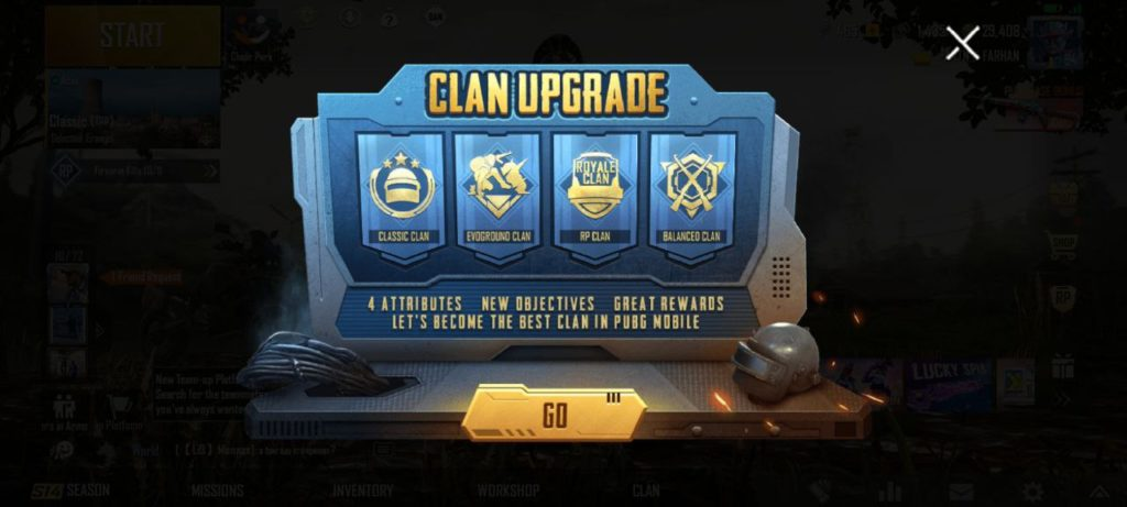 PUBG Clan Upgrade