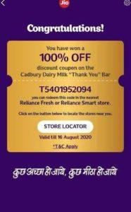 Jio Free DairyMilk - Create Card & Grab Free DairyMilk Coupon On MyJio