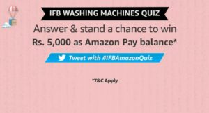 Amazon IFB Washing Machine Quiz Answers