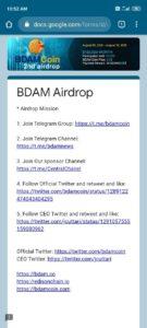 BDAM Coin Air Drop Refer Earn