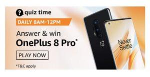 Amazon OnePlus 8 Pro Quiz Answers