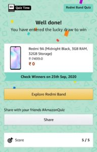 Amazon Redmi Band Quiz Answers