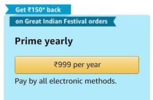 Amazon Prime Membership at 350 rupees