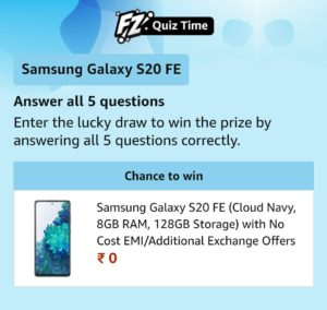 AmazonSamsung Galaxy S20FE QuizAnswers