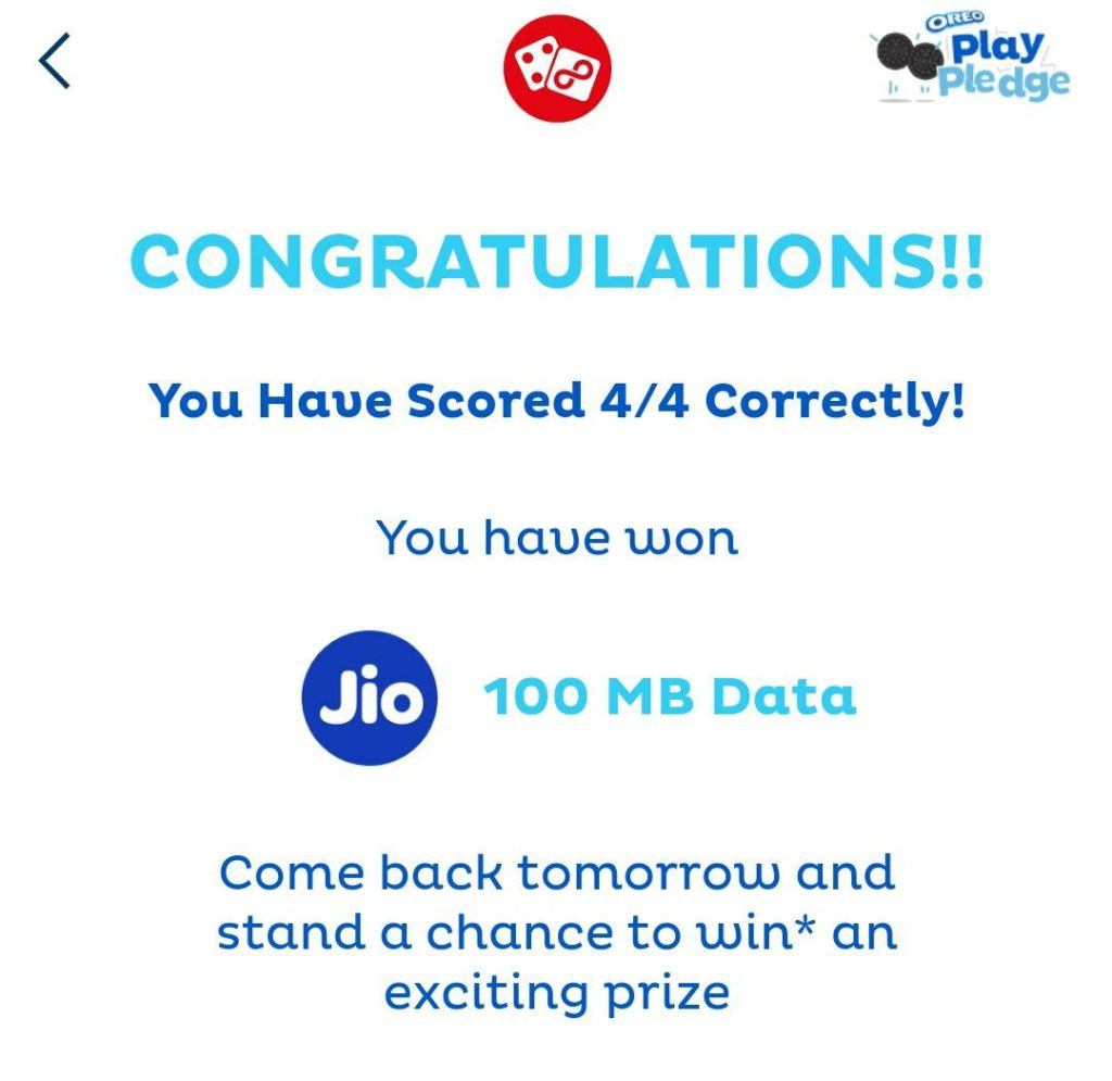 MyJio Oreo Play Pledge Offer - Get Jio Free Data
