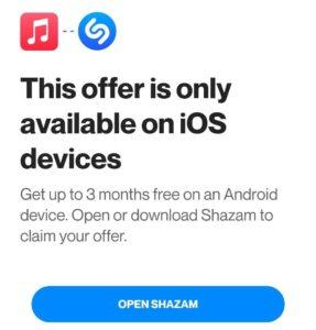 Shazam Free Apple Music Offer