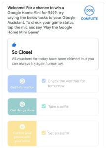 Google Home Mini Game - Get Google Home Mini @ Just ₹499