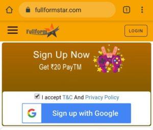 FullFormStar Refer Earn Free PayTM Cash
