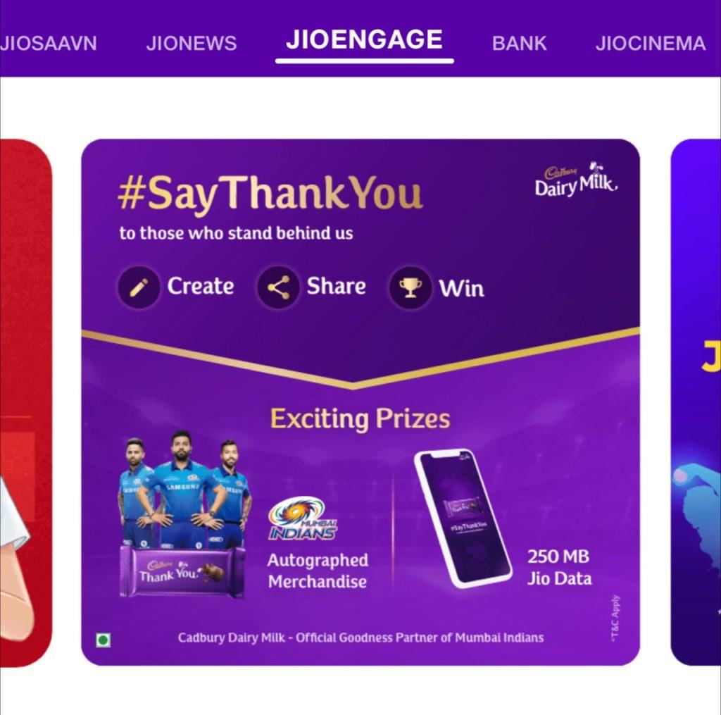 Free 1 GB/250 MB Jio Data From Jio Cadbury Dairy Milk Offer