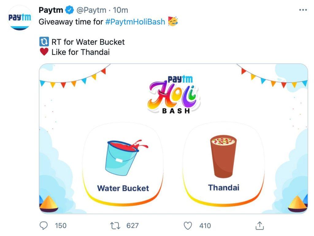 "[Giveaway] PayTM Holi Bash ""Water Bucket"" , ""Thandai"" For FREE"
