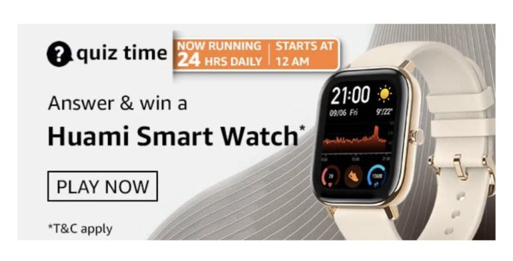 Amazon Huami Smart Watch Quiz Answers