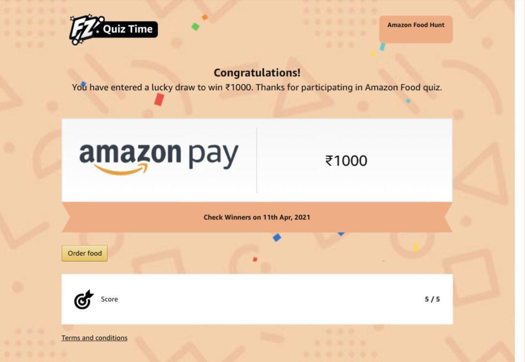 Amazon Food Hunt Quiz Answers
