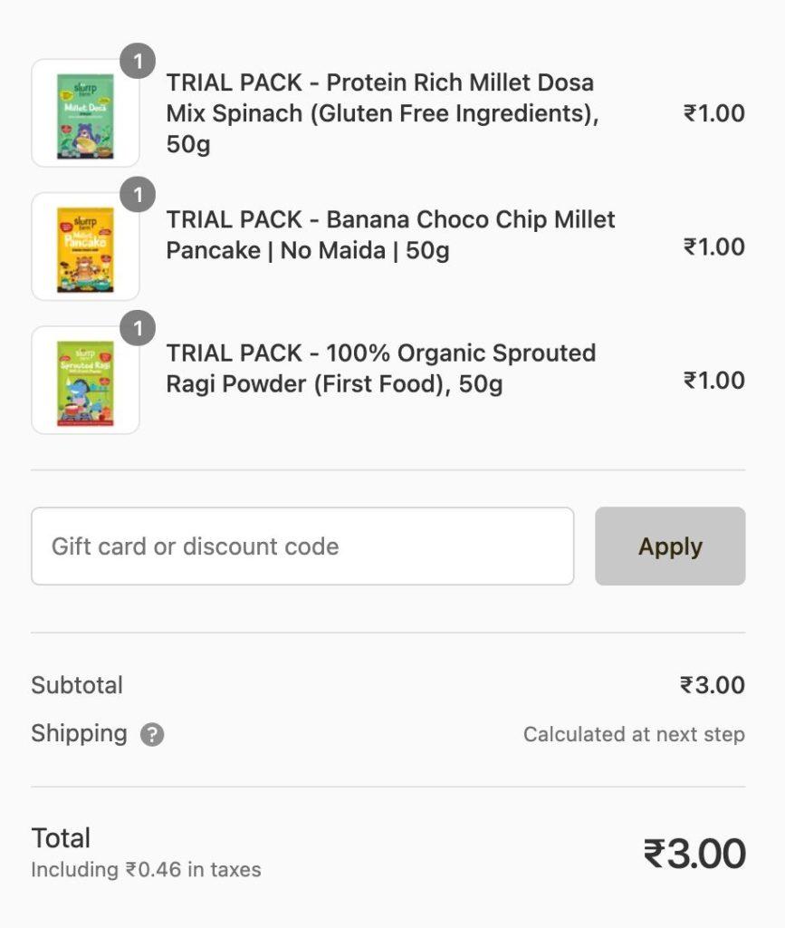 Slurrp Farm ₹1 Samples