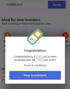 CoinDCX Go Free Bitcoins
