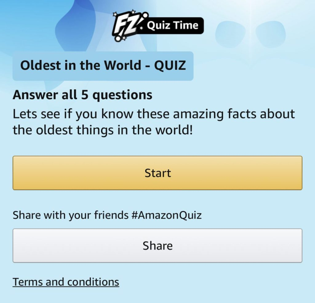 Amazon Oldest in the World Quiz Answers