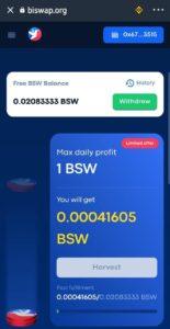 Biswap Exchange BSW Harvesting Offer