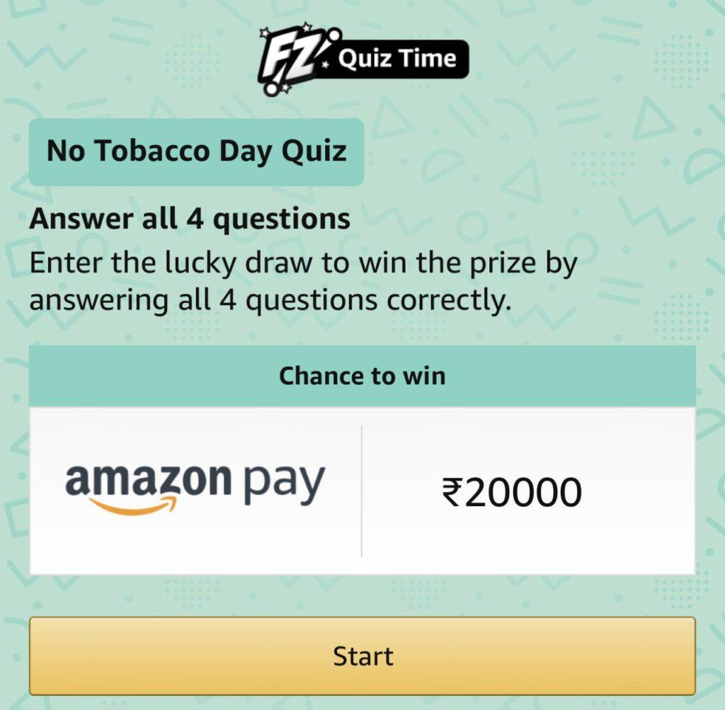 Amazon No Tobacco Day Quiz Answers