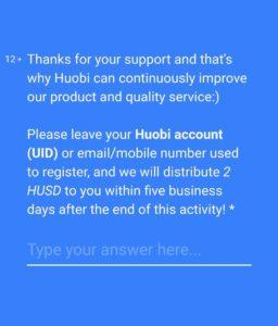 Huobi Global HUSD Tokens Free