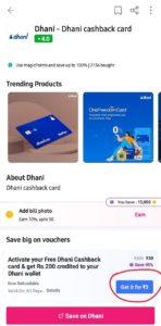 Magicpin Dhani Free Cashback Card Loot