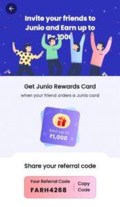Junio RuPay Prepaid Card Refer Earn