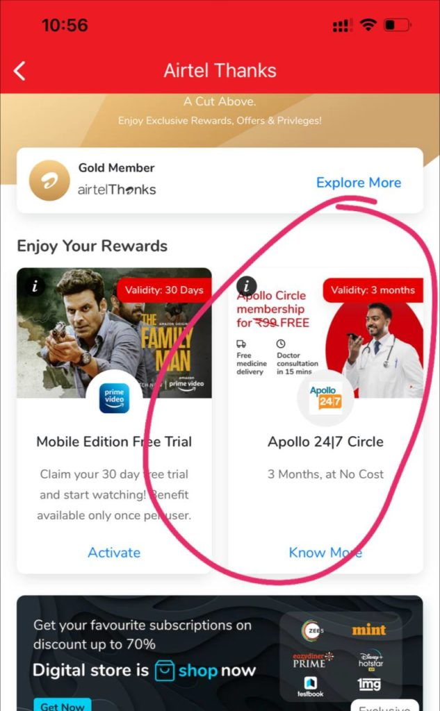Airtel Thanks App Apollo 247 Offer
