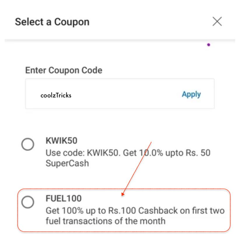 Mobikwik Petrol Offer