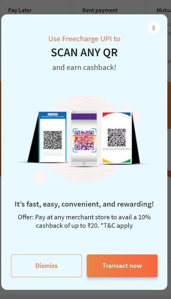 Freecharge Cashback Offer