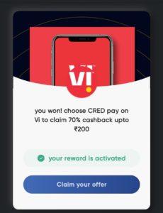 Cred VI Recharge Cashback Offer