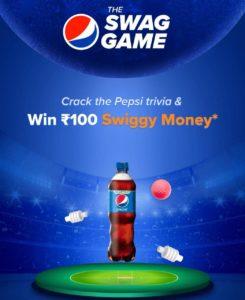 Swiggy Pepsi The Swag Game Quiz Answers